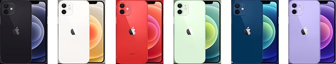 Mange forskellige modeller af iPhone 12 i utallige farver